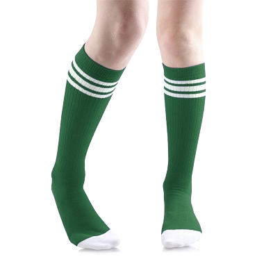 Green with White Stripes Tube Socks